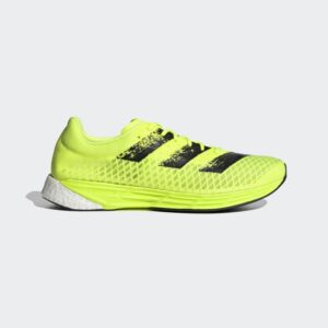 Adidas Adizero Pro Solar Yellow / Core Black / Cloud White Mens Carbon plate road running