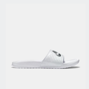 Nike Benassi JDI Slide White/Metallic Silver Womens